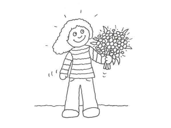 Dibujo De Un Nino Con Un Ramo De Flores Para Pintar