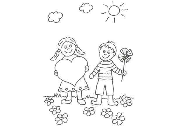 Dibujo de niños en San Valentín para pintar