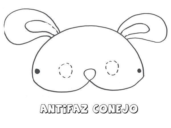 Antifaz de conejo. Dibujos para colorear con los niños