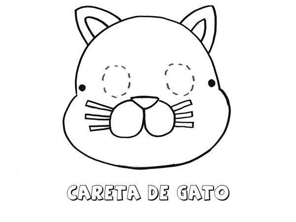 Careta de gato. Dibujos para colorear con los niños