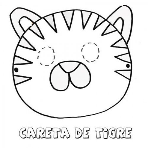 Careta de tigre. Dibujos para colorear con los niños