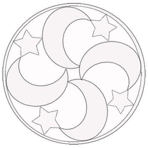Desenho de Mandala com luas e estrellas para pintar