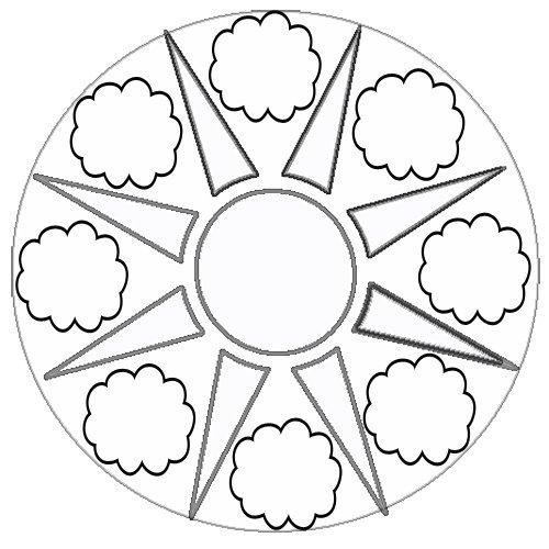 Desenho de mandala com sol e nuvens para imprimir
