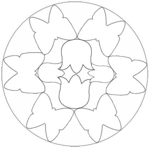 Desenho de mandala com tulipas e borboletas para pintar