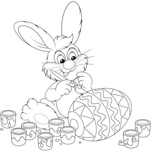 Desenho de coelho pintando para colorir