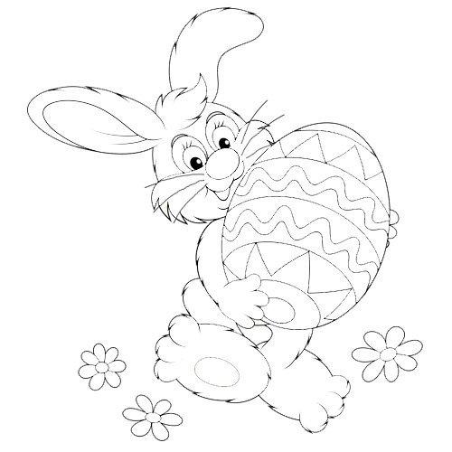 Desenho para pintar de um coelho com um ovo de Páscoa