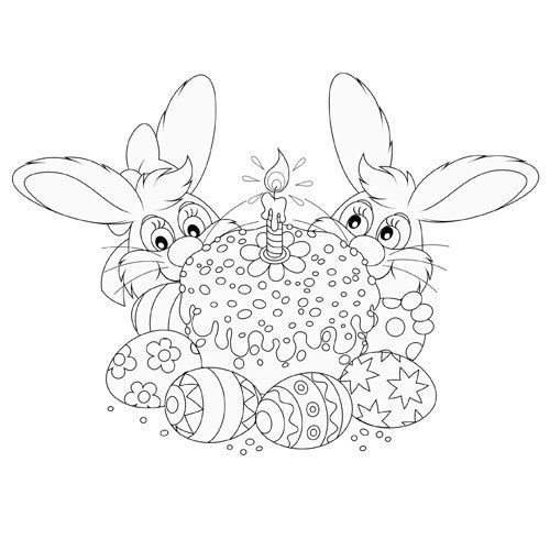 Desenho para pintar de dois coelhos com bolo e ovos