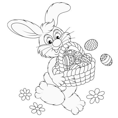 Desenho para pintar de coelho com cesta de Páscoa