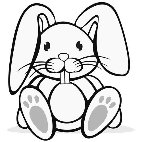 Desenho para pintar de um coelho de Páscoa sentado