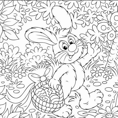 Desenho de coelho com ovos de Páscoa para colorir