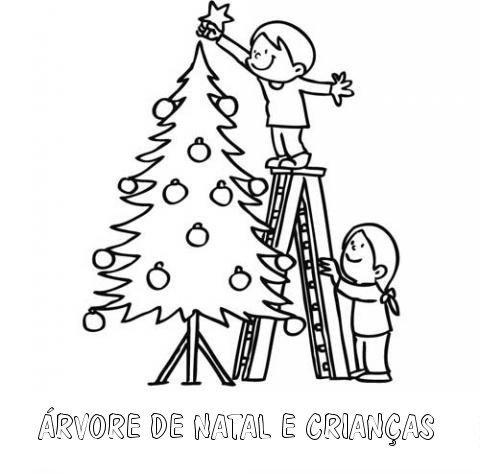 Desenho para colorir de crianças e árvore de Natal