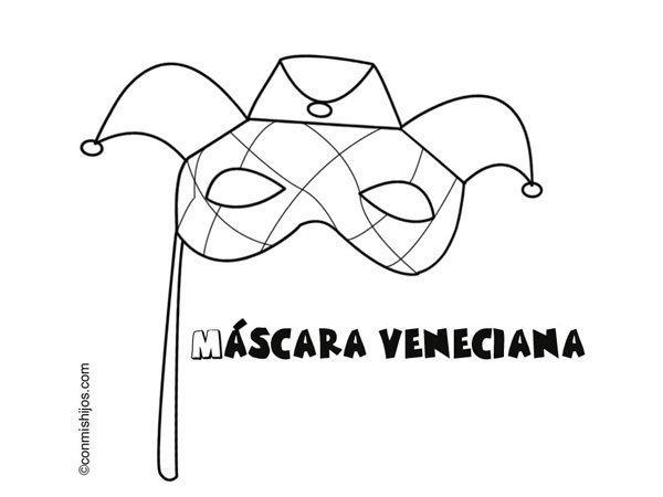 Dibujo para pintar con niños de una máscara veneciana de Carnaval