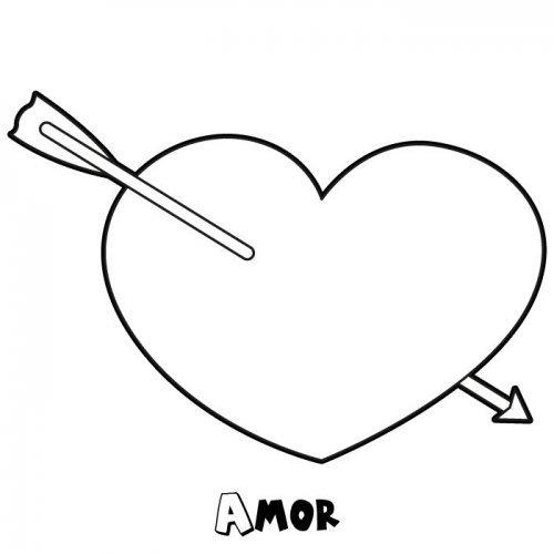 Desenho De Coração Com Flecha Para Pintar