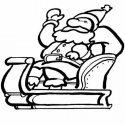 Desenho de Papai Noel em seu trenó para pintar