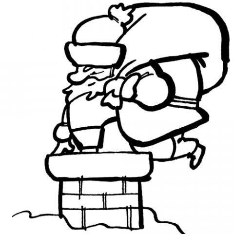Desenho de Papai Noel na chaminé para pintar