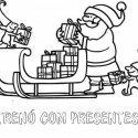 Desenho grátis de Papai Noel colocando presentes em seu trenó