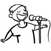 Desenho de um cantor para colorir com as crianças