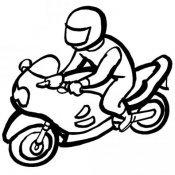 Desenho de motociclista para pintar
