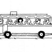 Desenho de ônibus para colorir com as crianças