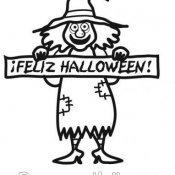 Desenho para pintar de bruxa festejando Halloween