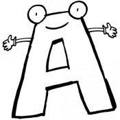 Desenho da letra A com carinha para pintar