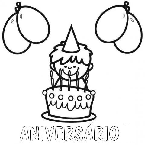 Desenho de criança com bolo de aniversário para colorir