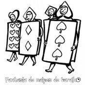 Desenho de cartas de baralho para pintar