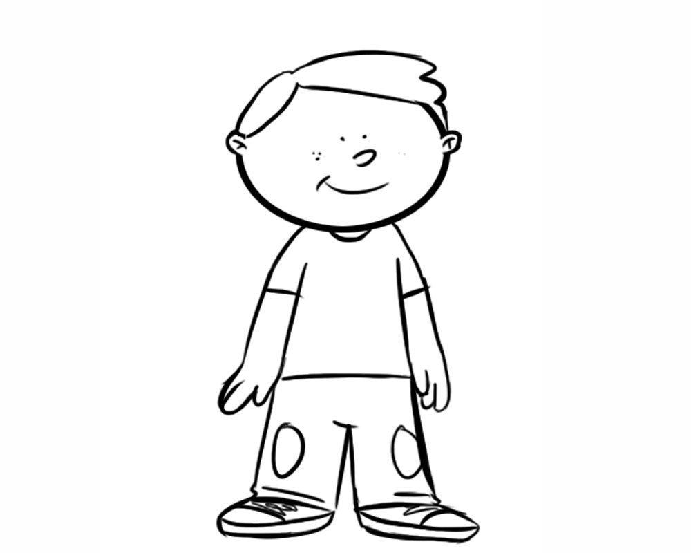 Dibujo De Cara De Niño Pequeño Para Colorear: Dibujo Para Colorear De Un Niño Contento