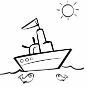 Desenho de um pequeno barco para pintar
