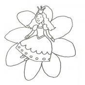 Desenho de uma princesa numa flor para pintar