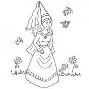 Desenho de uma princesa com borboletas