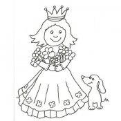 Desenho de um princesa e o seu cão para pintar