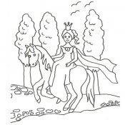 Desenho de princesa e poney para colorir