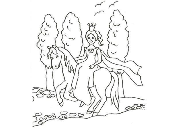 Desenhos Para Colorir Principe: Desenho De Princesa E Poney Para Colorir