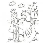 Desenho de um príncipe a cavalo para pintar