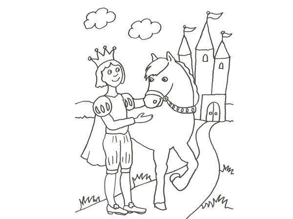 Desenhos Para Colorir Principe: Desenho De Um Príncipe A Cavalo Para Pintar