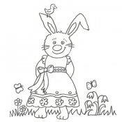 Desenho de coelha no campo para colorir
