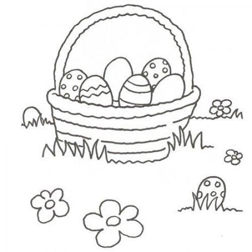 Desenho de uma cesta de ovos de Páscoa