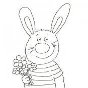 Desenho de um coelho com flores para pintar