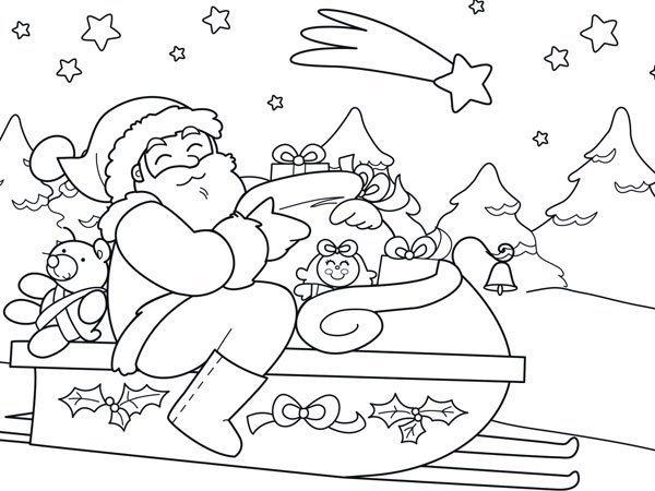Papá Y Mamá Noel Dibujos Para Imprimir Y Colorear: Dibujo Navideño De Papá Noel En Su Trineo Para Imprimir