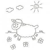 Desenho de uma feliz ovelha para colorir