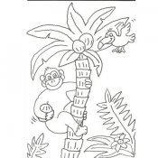 Desenho de gorila numa árvore para pintar