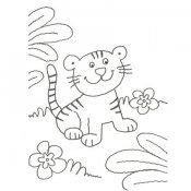 Desenho de filhote de tigre para colorir