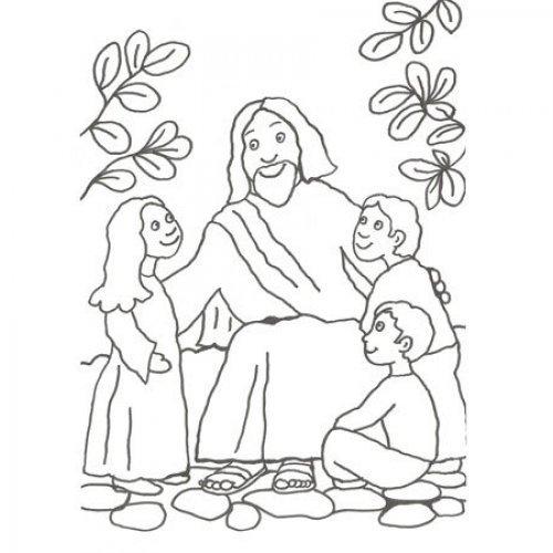 Desenho de Jesús com as crianças para pintar