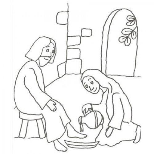 Desenho de Jesús lavando os pés para pintar