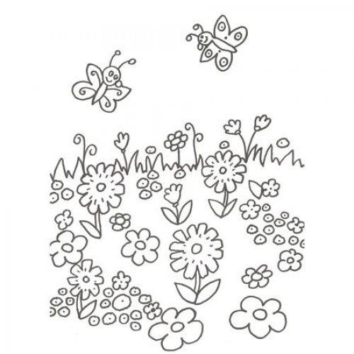 de flores e borboletas para pintar  Desenhos de flores para colorir