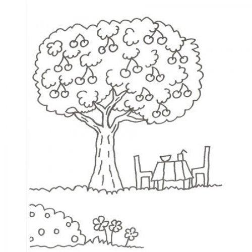 Desenho de uma árvore com cerejas para pintar