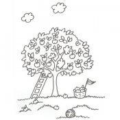 Desenho de árvore carregada de maçãs