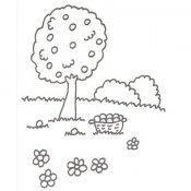 Desenho de árvore com cesta de frutas