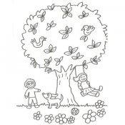 Desenho de árvore e crianças brincando com cachorro